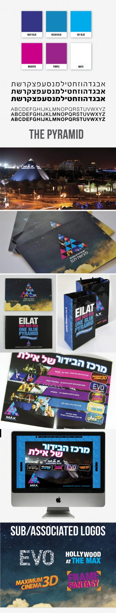 pyramid, logos, branding, paper bag, booklet, attraction, print, web