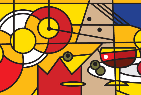 Art cubism gift card homage cinema design