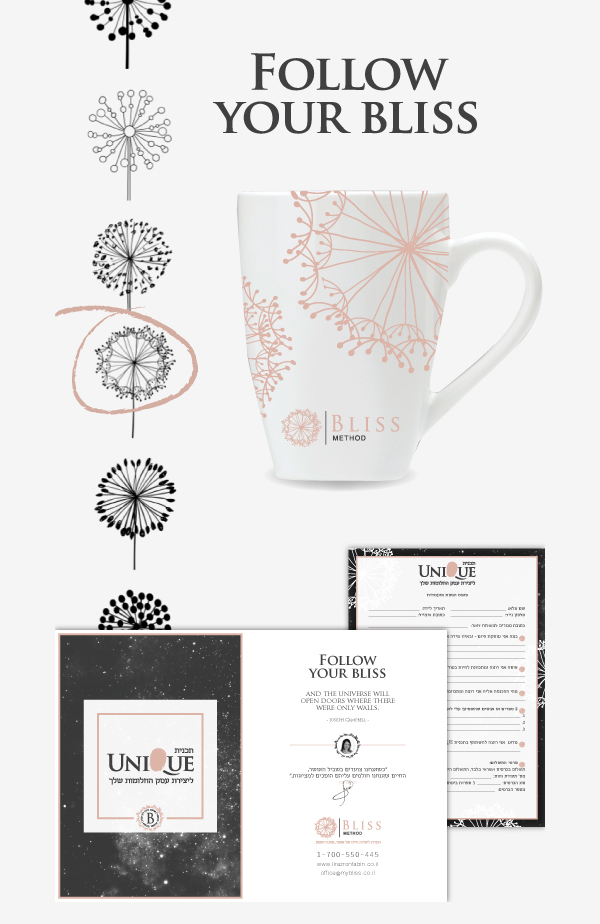 logo Branding Bliss the art of happiness mug flyer design brochure  pink