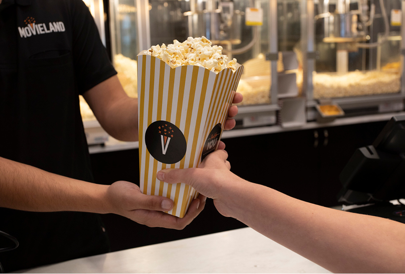 movieland cinema logo branding popcorn