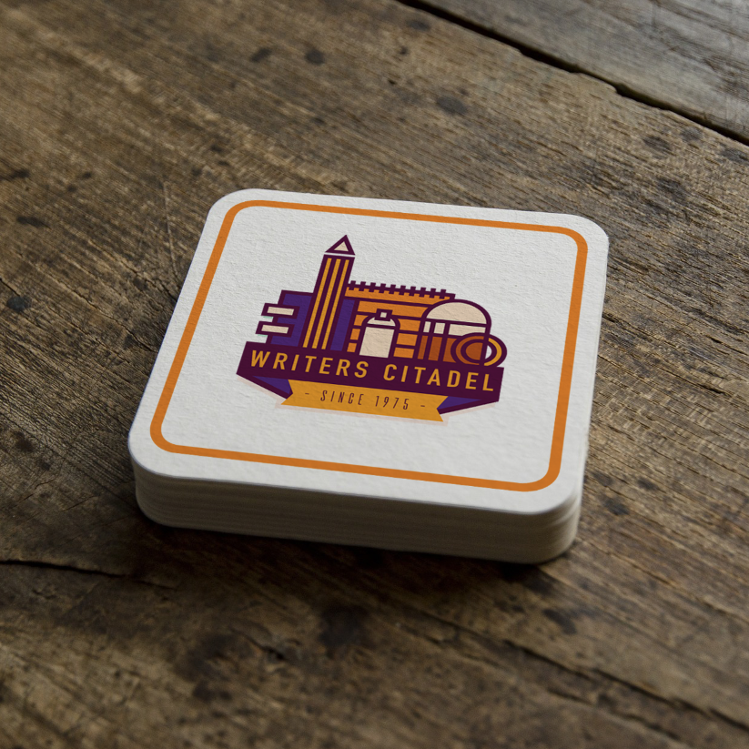 coasters beer writing logo writers citadel branding